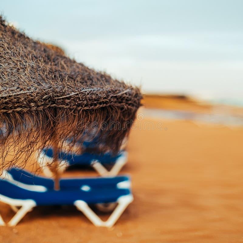 Free Straw Umbrella On The Beach. Close-up Royalty Free Stock Image - 58942586