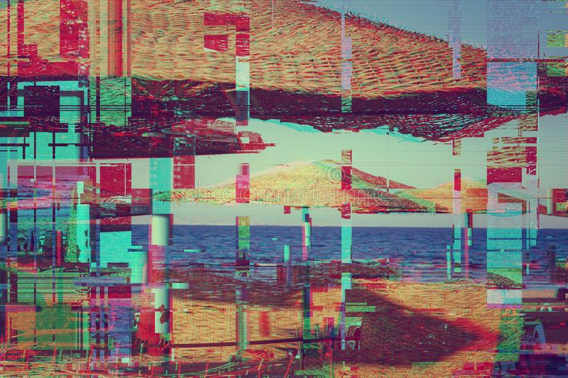 Straw umbrellas on the beach. glitch Anaglyph 3d effect. twisted shabby coral turquoise effect.  stock images