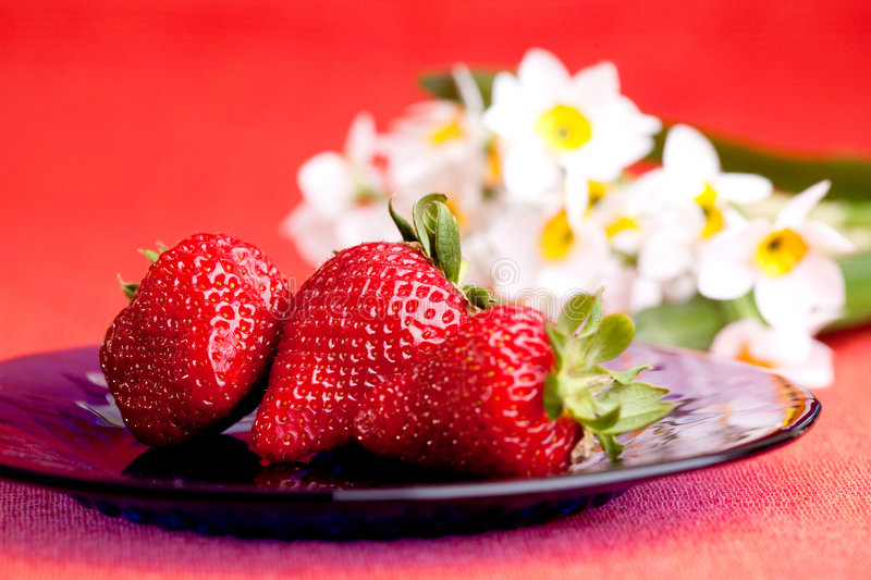Download Strawberries stock image. Image of setting, berries, blue - 9087371