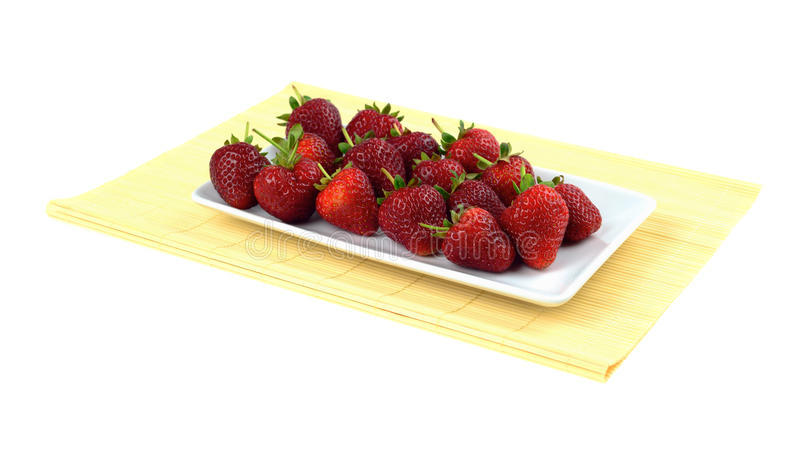 Download Strawberries On Bamboo Tablecloth Isolated White Stock Image - Image: 24789115