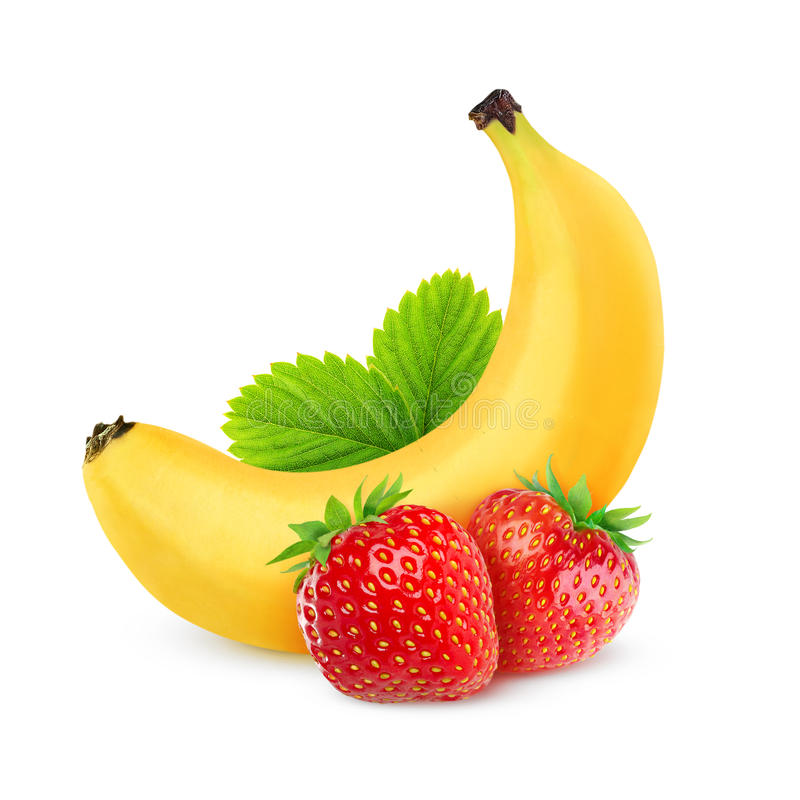 Download Strawberries and banana stock photo. Image of isolated - 33279446