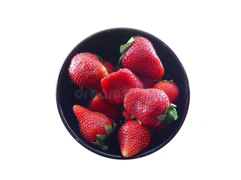 Strawberries In Black Bowl Stock Photo