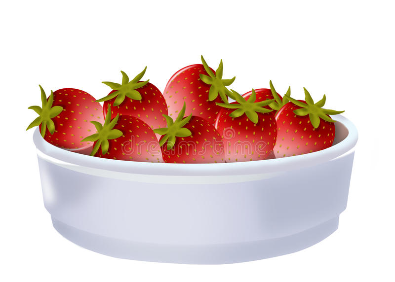 Strawberries In A Bowl Stock Illustration
