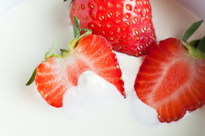 Download Strawberries in Cream stock photo. Image of whole, green - 24700096