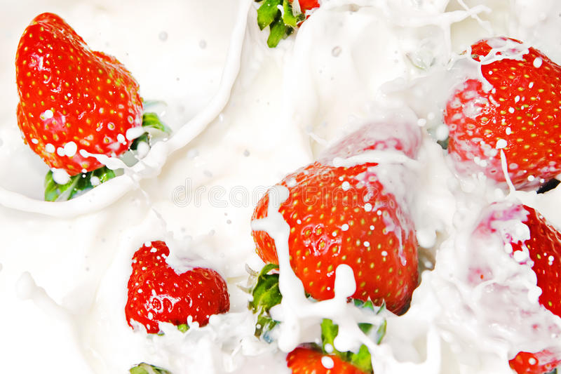 Strawberries & cream stock image