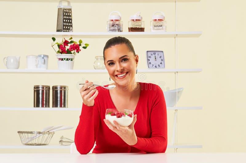 Strawberries cream eating snack health healthy diet lunch weight. Loss yogurt stock photo