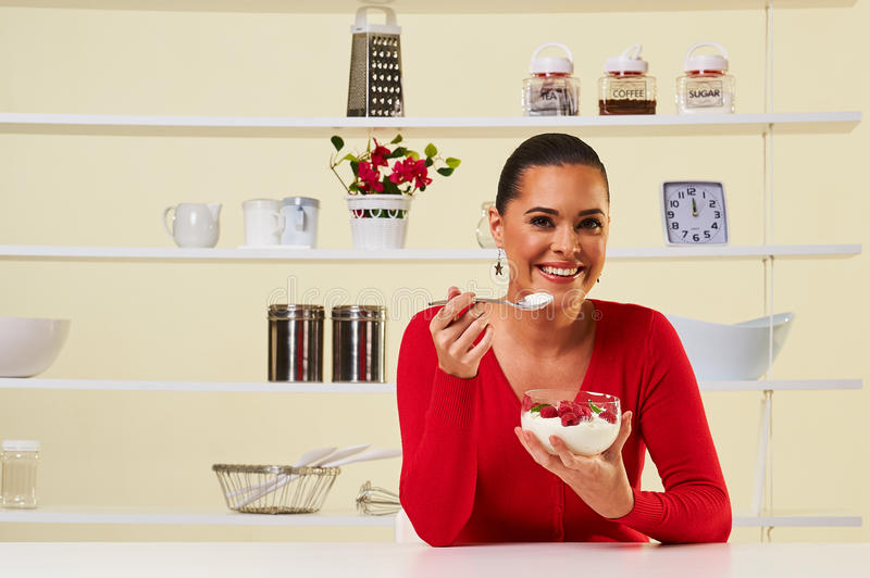 Strawberries cream eating snack health healthy diet lunch weight. Loss yogurt royalty free stock image