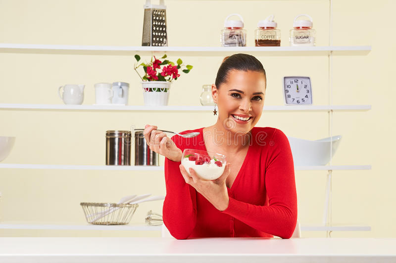 Strawberries cream eating snack health healthy diet lunch weight. Loss yogurt stock image