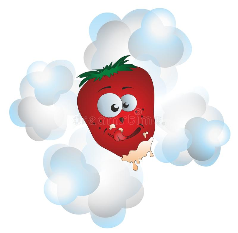 Strawberries and cream. Mr. strawberries with cream on his face vector illustration