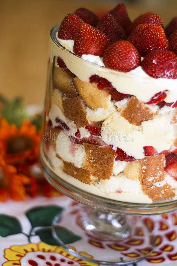 Download Strawberries And Cream Trifle Stock Photo - Image of trifle, strawberries: 14328616