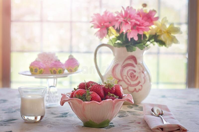 Strawberries And Flowers On Table Free Public Domain Cc0 Image