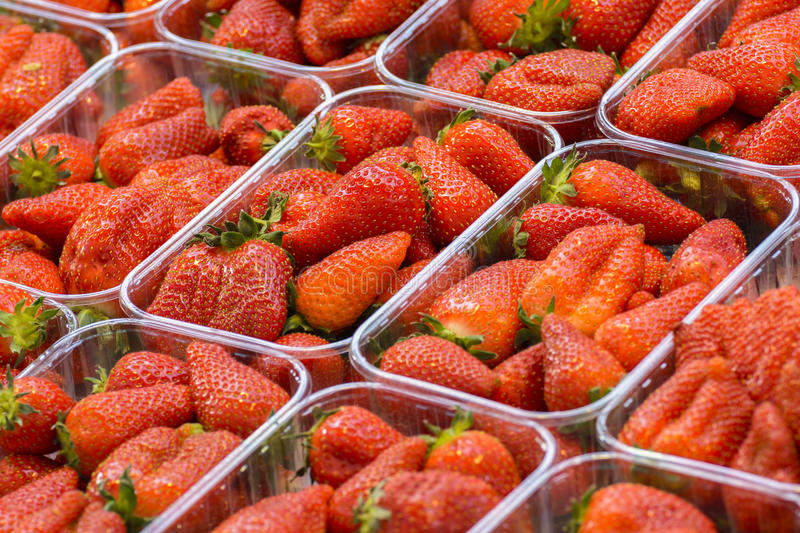 Strawberries. Fresh strawberries exposed for sale