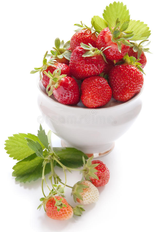 Strawberries With Green Leaf Stock Images