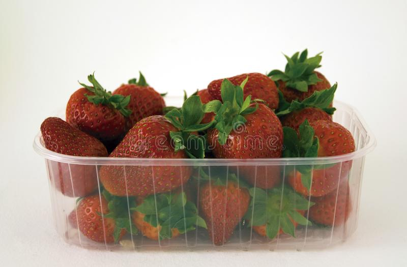 Strawberries in a tray. Strawberries grouped in a plastic tray for sale royalty free stock photography
