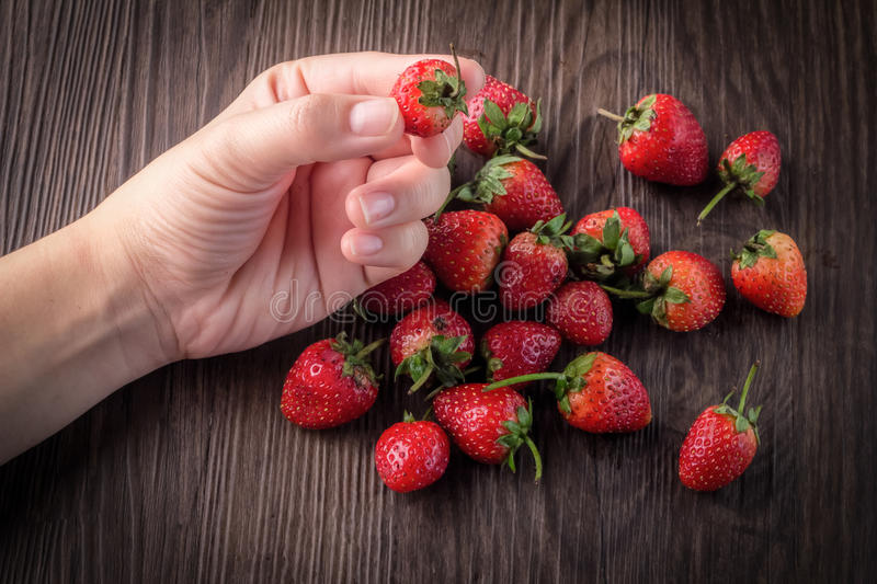 Strawberries with hand pick up stock photography
