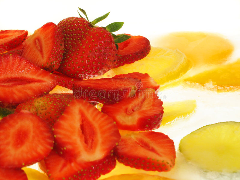 Strawberries on Ice royalty free stock photography
