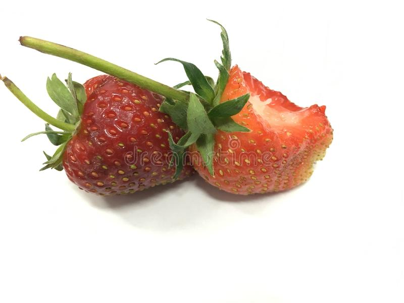 Strawberries with leaves royalty free stock photos