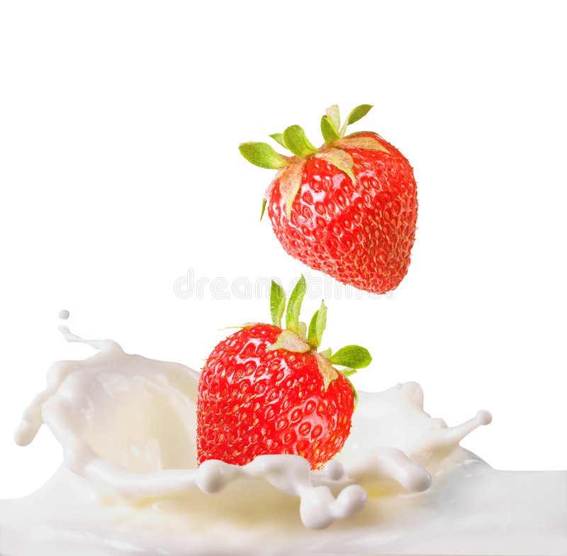 Strawberries & milk royalty free stock image