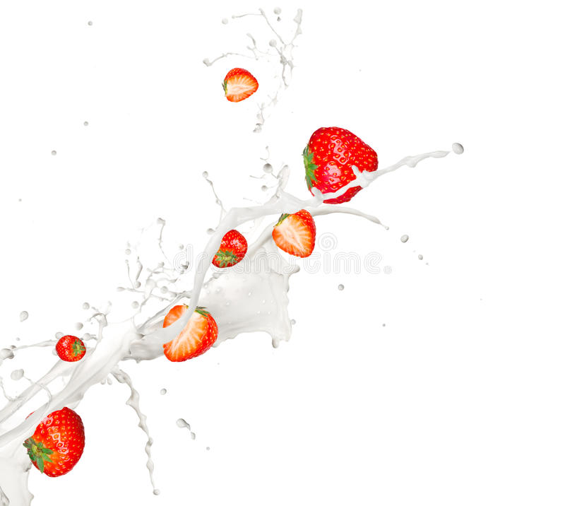 Download Strawberries In Milk Splash Stock Image - Image: 22404415