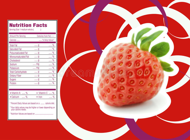 Strawberries nutrition facts vector illustration