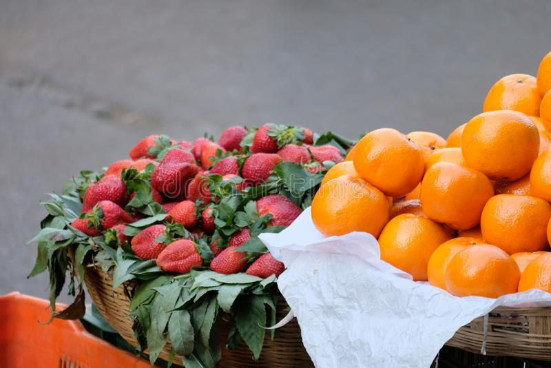 Strawberries And Oranges For Sale In Baskets Free Public Domain Cc0 Image