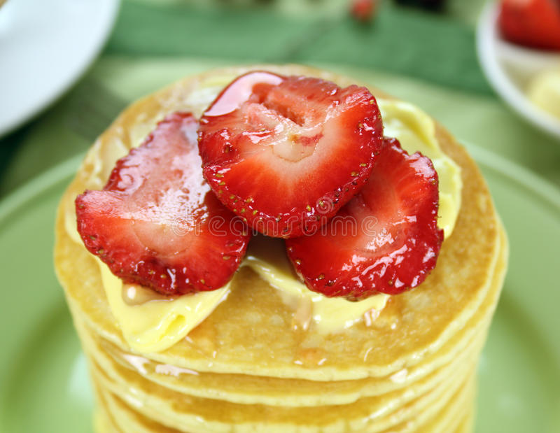 Download Strawberries On Pancakes stock image. Image of calories - 18230815