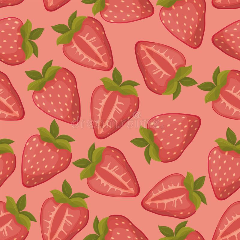 Strawberries seamless vector pattern with pink background stock illustration