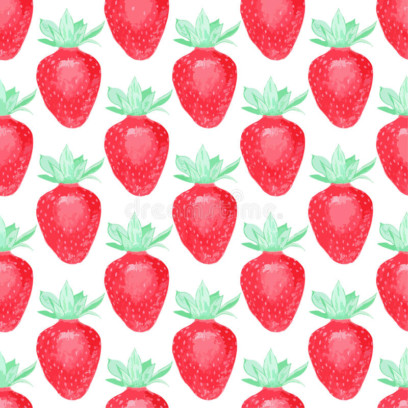 Strawberries. Seamless pattern with berries. Hand-drawn background. Vector illustration. royalty free illustration