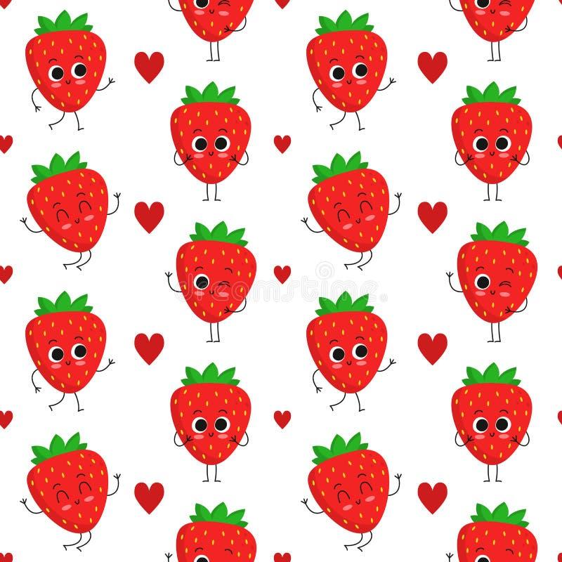Strawberries, seamless pattern royalty free stock photo