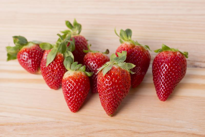 Strawberries. On garden`s table, outdoor picture royalty free stock photography