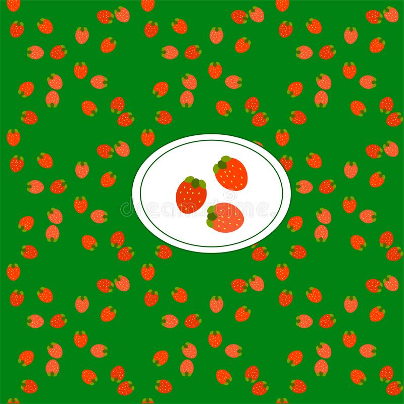 Strawberries vector illustration. Seamless pattern Red juicy berries. To create a blog backdrop, print on textiles royalty free illustration