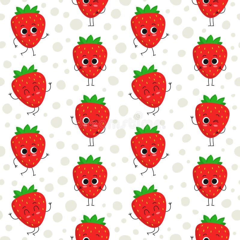 Strawberries, vector seamless pattern vector illustration