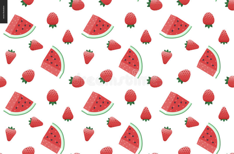 Strawberries and watermelon seamless vector pattern vector illustration