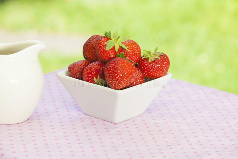 Strawberries in a white angled bowl stock images