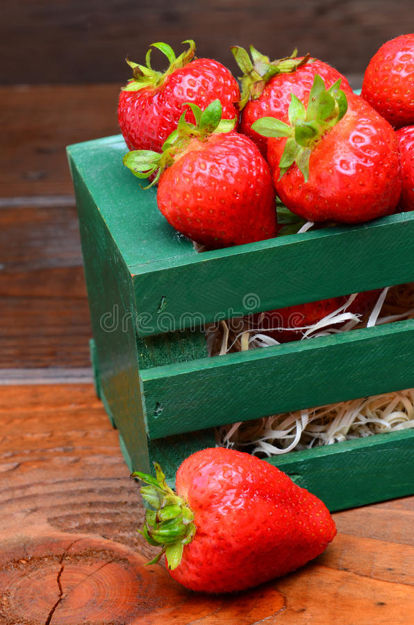 Download Strawberries in Wood Crate stock photo. Image of wooden - 24683348