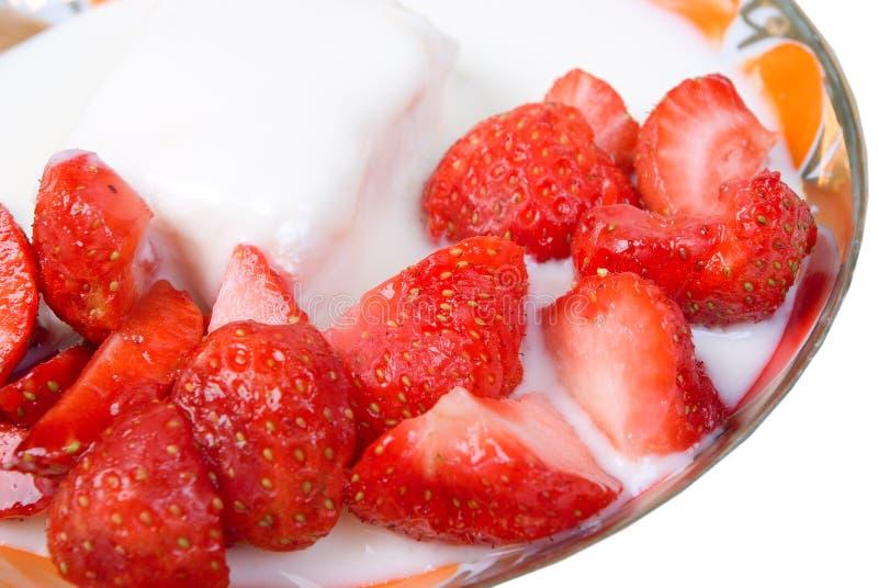 Strawberries and yogurt royalty free stock photography