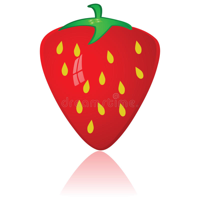 Strawberry. Glossy illustration of a ripe red strawberry royalty free illustration