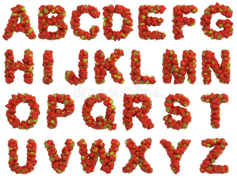 Strawberry alphabet on white background stock illustration