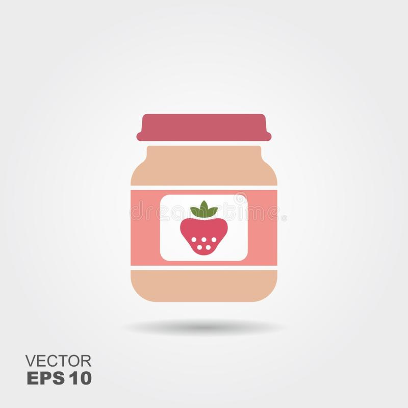Strawberry baby food, smoothies, fruit puree royalty free illustration