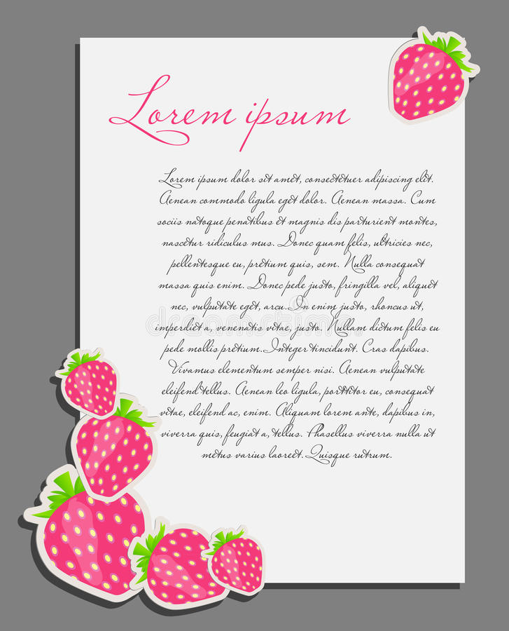 Download Strawberry Background Blank Page Vector Royalty Free Stock Images - Image: 28963229