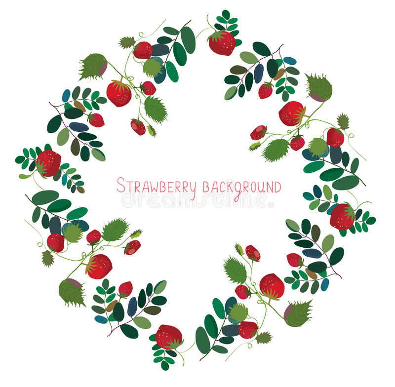 Free Strawberry Background With Leaves Stock Images - 53740194