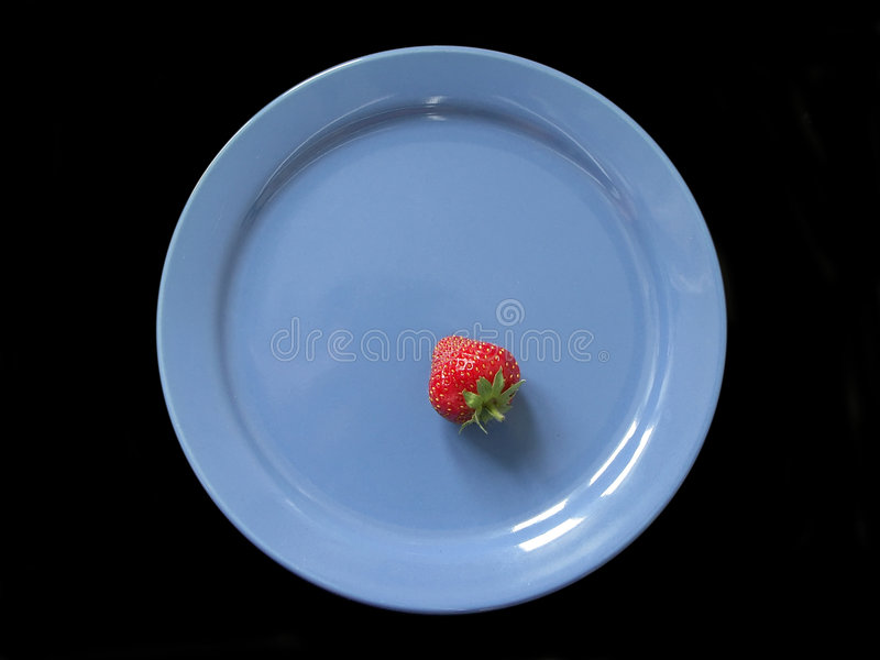Download Strawberry on blue plate stock photo. Image of round, still - 144448
