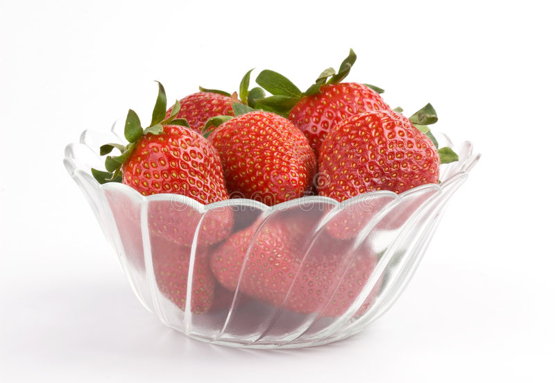 Strawberry in a bowl stock photos