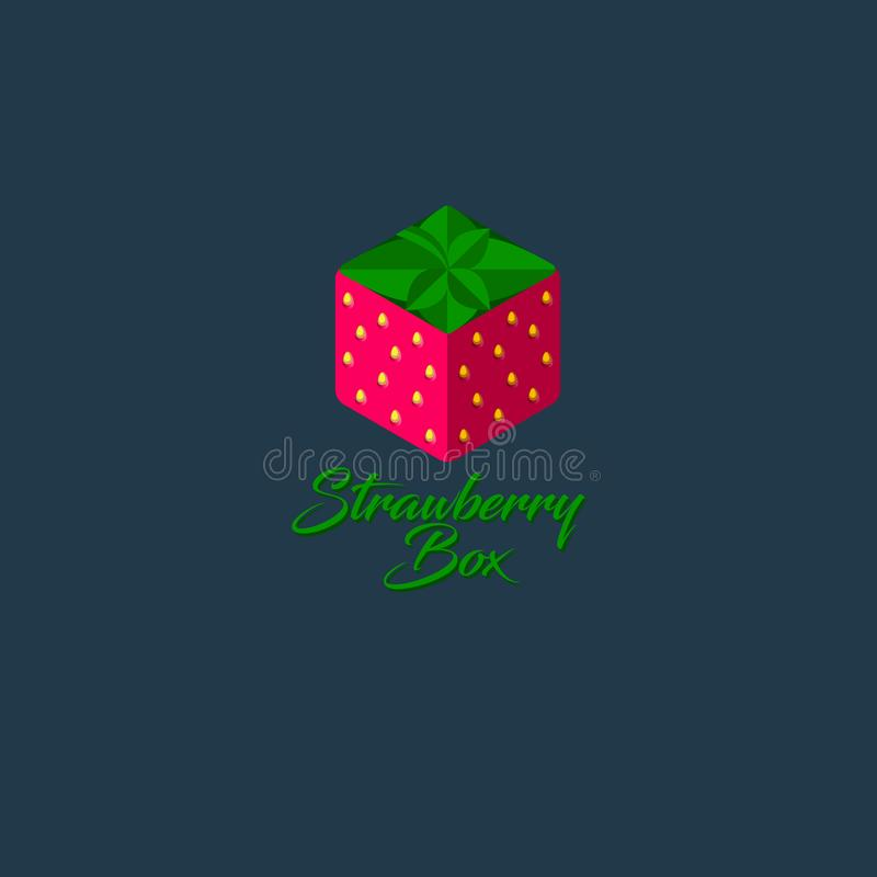 Strawberry box logo. Hexagon strawberry icon. Sweets emblem. Gift store. vector illustration
