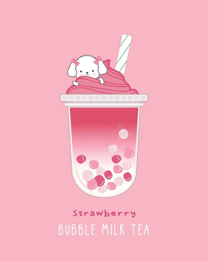 Strawberry Bubble Milk Tea stock photography