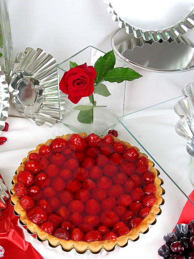 Strawberry cake. View from above royalty free stock photography