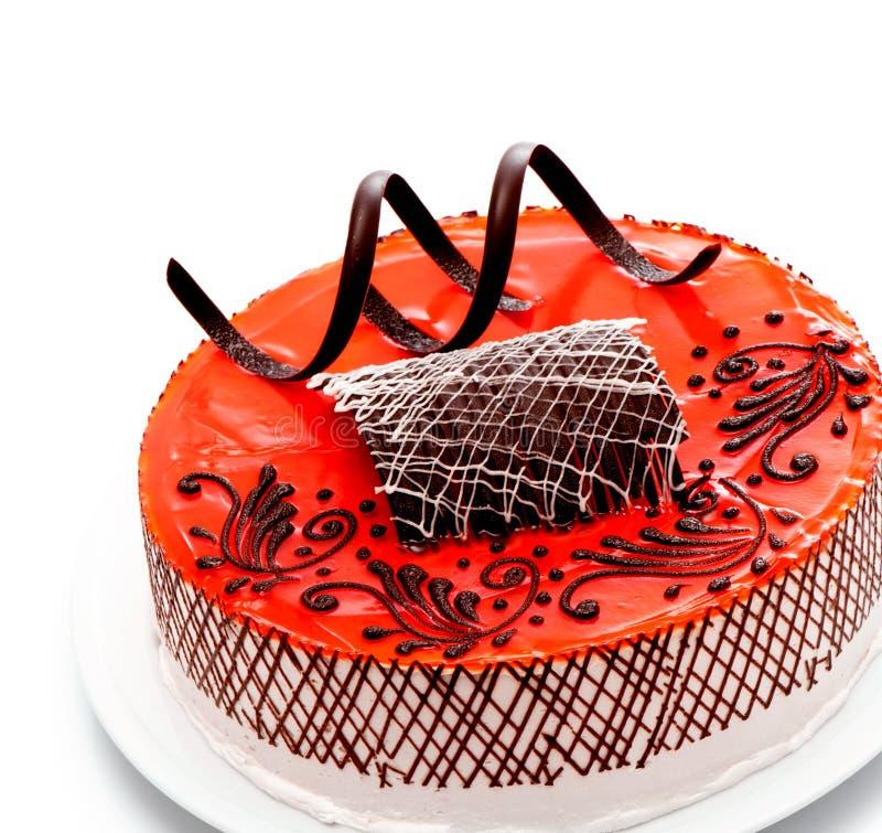Strawberry cake. Ower white background royalty free stock image