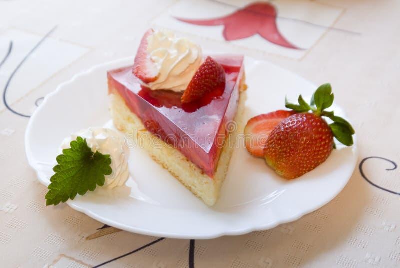 Strawberry cake. Slice of strawberry shortcake with whipped cream stock images