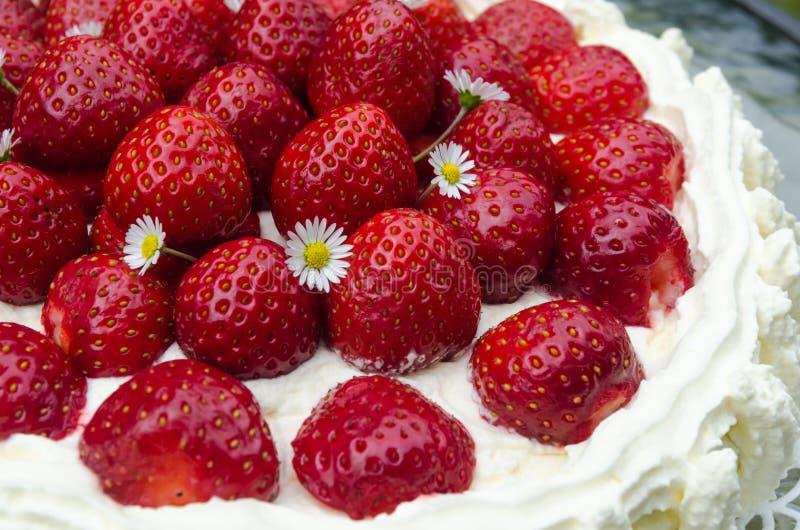 Strawberry cake detail stock photo