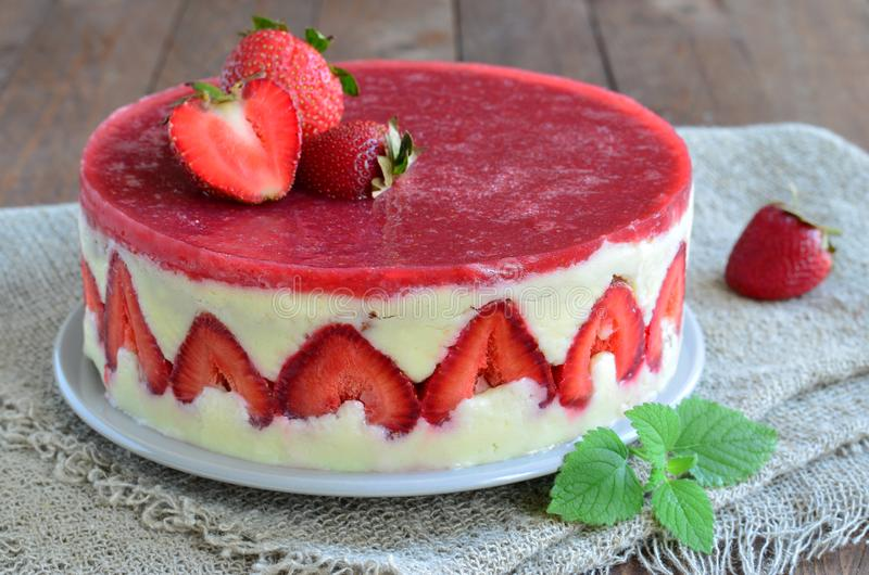 Strawberry cake, Fraisier cake royalty free stock photography
